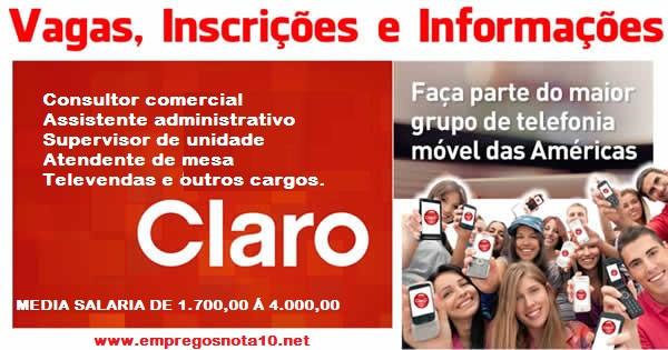 Claro está selecionando profissionais para trabalhar em vários setores em diversos estados do Brasil