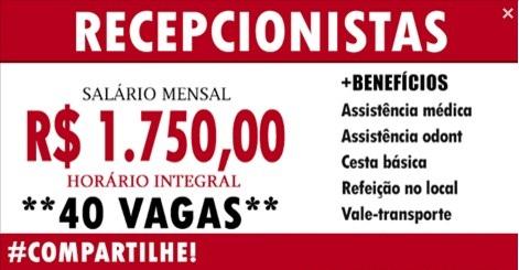 40 VAGAS PARA RECEPCIONISTA CADASTRE-SE AGORA