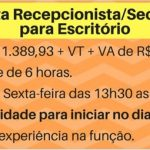 CONTRATA: RECEPCIONISTA/SECRETÁRIA PARA ESCRITÓRIO