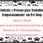 Contrato 3 Pessoas para trabalhar Temporariamente em Pet Shop.