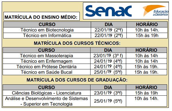 Estão abertas as inscrições para novos Cursos EAD e Presencial do Senac – 2018