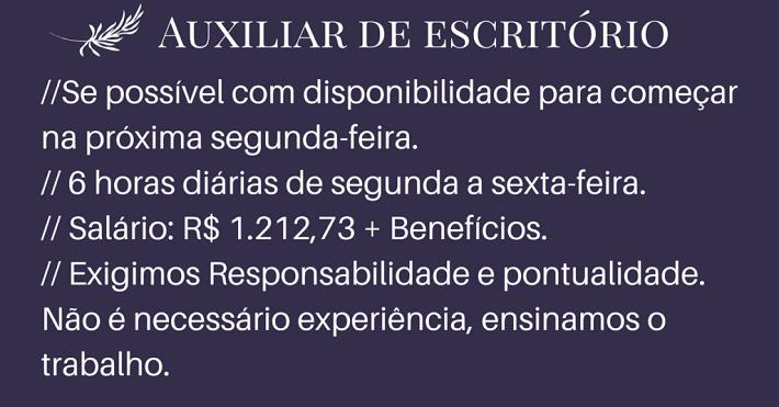 CONTRATA-SE AUXILIAR DE ESCRITÓRIO – ENSINO MÉDIO COMPLETO – NÃO É NECESSÁRIA EXPERIÊNCIA