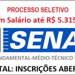 PROCESSO SELETIVO SENAI – Para Nível Fundamental-Médio-Técnico e Superior: Salário até R$ 5.315,10!