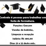Contrato 6 Pessoas para Trabalhar em Festa de Formatura.